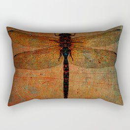 Dragonfly On Orange and Green Background Rectangular Pillow