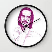 nick cave Wall Clocks featuring Nick Cave by 1and9