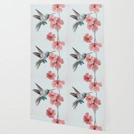 Hummingbird with Hibiscus Wallpaper
