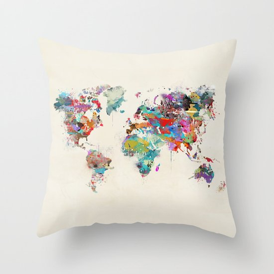 Throw Pillows With World Map : world map watercolor Throw Pillow by Bri.buckley Society6
