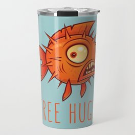 Free Hugs Cartoon Blowfish Travel Mug