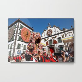 Religious festival in Azores Metal Print