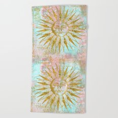 Golden Sun elegant vintage pattern Beach Towel