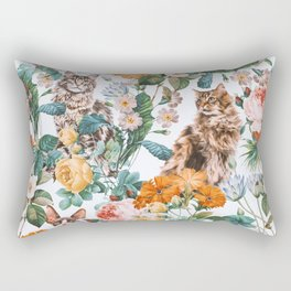 Cat and Floral Pattern III Rectangular Pillow