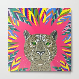 Animal lovers leopard / Hand drawn leopard // bright leaves // neon colours // Metal Print