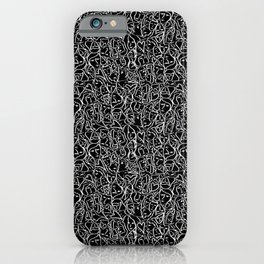 Elios Shirt Faces with Valentine Hearts in White Outlines on Black iPhone Case