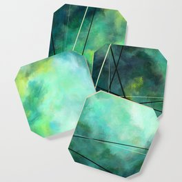 Crossed Green - Abstract Art Coaster