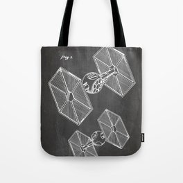 Starwars Tie Fighter Patent - Tie Fighter Art - Black Chalkboard Tote Bag