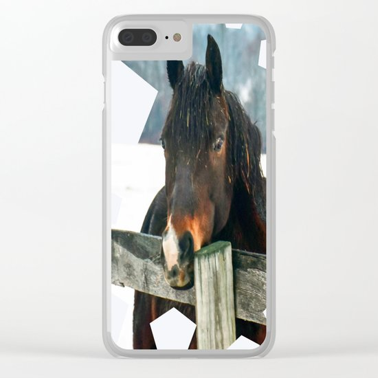 Thoughtful Horse Clear iPhone Case