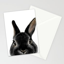 Netherland Dwarf rabbit Black, illustration original painting print Stationery Cards