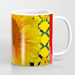ORNATE SUNFLOWER RED-YELLOW PATTERN Coffee Mug