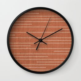 Geometric Art, Colorful Stripes Mudcloth, Terracotta Wall Clock