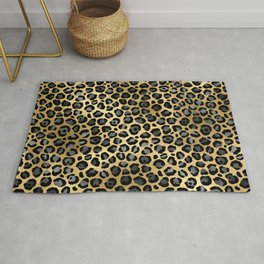 Glam Gold, Gray, and Black Leopard Spots Pattern Rug