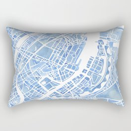 Copenhagen Denmark watercolor city map Rectangular Pillow