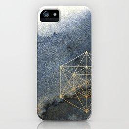 Sacred Geometry Indigo Blue & Gold Watercolor iPhone Case