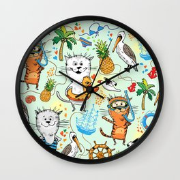Summer sea picture with a cat and pelican Wall Clock