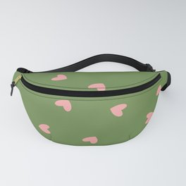 Pink Hearts on Green Background Fanny Pack