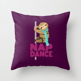 Funny Nap Dance Neon Sign Cute Sloth Pole Dancer Throw Pillow