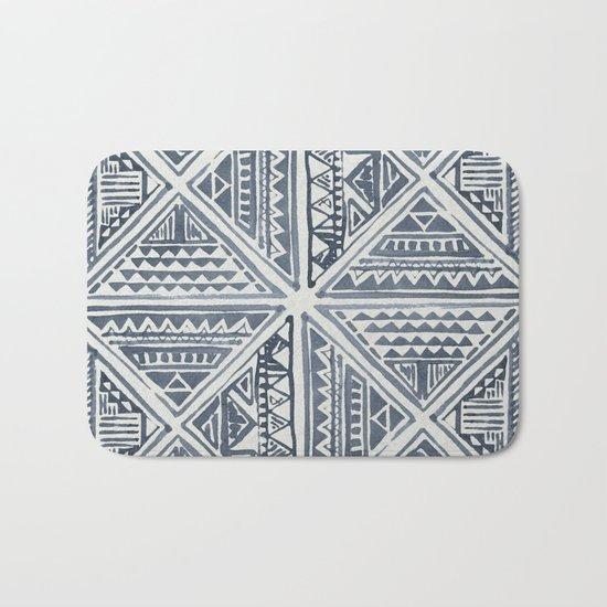 Simply Tribal Tile in Indigo Blue on Lunar Gray Bath Mat