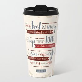 """""""Hope in the Lord"""" Hand-Lettered Bible Verse Travel Mug"""