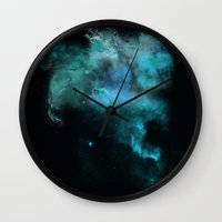 psychology Wall Clocks featuring a cold nebula by Gabrielle Agius