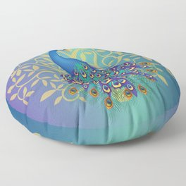 Peacock In A Tree Floor Pillow