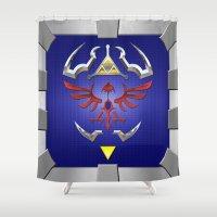 shield Shower Curtains featuring Zelda Shield by Janismarika