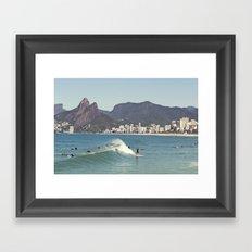 Surfing on Ipanema Beach Framed Art Print