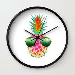 Electric Pineapple with Shades Wall Clock