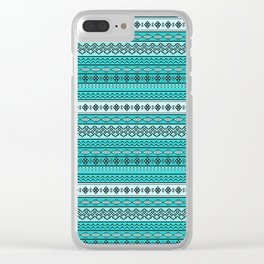 Modern Native Navajo Ethnic Tribal V.02 - Blue Color Clear iPhone Case