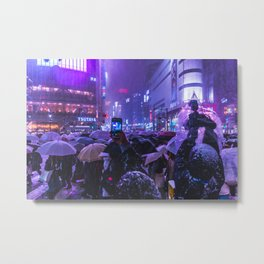 Instagrammers life in Shibuyacrossing at Snowy Night Metal Print