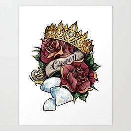 Queen of Diamonds vector tattoo illustration Art Print