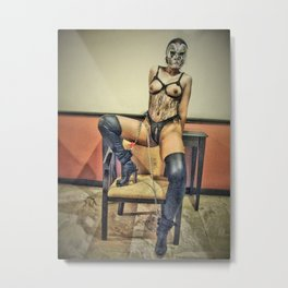 Asian Girl, Fetish,Mask and Leather Boots, Dominatrix,Mistress Metal Print