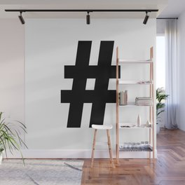Hash Sign (Black & White) Wall Mural