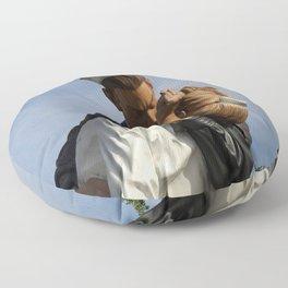 Kissing Sailor And Nurse Portrait Floor Pillow