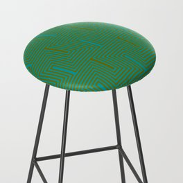 Doors & corners op art pattern in olive green and aqua blue Bar Stool