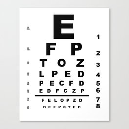 Eye Test Chart Canvas Print