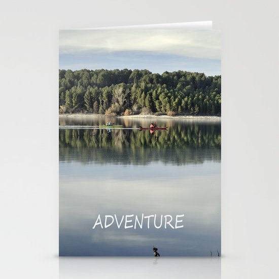 Adventure. Canoeing on the lake.  Stationery Cards