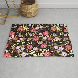 Ditsy floral pattern. Pretty pink flowers. Rug