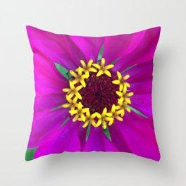 Magenta Zinnia Close Up Zoom Throw Pillow