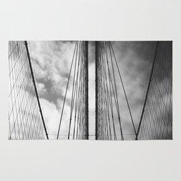 New York - Brooklyn Bridge, Black and White Rug