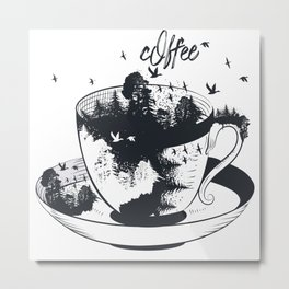 Beautiful coffee mug with forest landscape aristic fashion design Metal Print