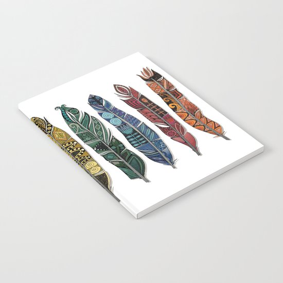boho rainbow feathers Notebook