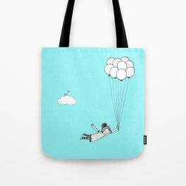 Hand Drawn Girl Flying With Balloons Tote Bag