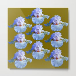BLUE-WHITE PASTELS IRIS GARDEN REPLICATES  IN AVOCADO Metal Print