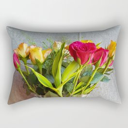 Flowers in a vase - with red and yellow roses Rectangular Pillow