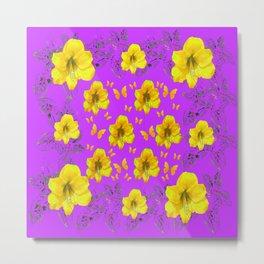 YELLOW AMARYLLIS FLOWERS & BUTTERFLIES PURPLE ART Metal Print