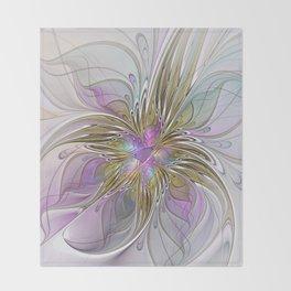 Flourish, Abstract Fractal Art Flower Throw Blanket