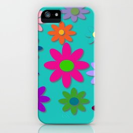 Flower Power - Teal Background - Fun Flowers - 60's Style - Hippie Syle iPhone Case