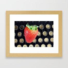 Strawberry typewriter keys Framed Art Print